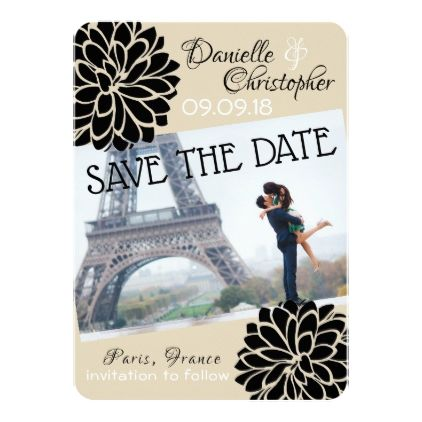 Black Dahlias Save the Date Card - chic design idea diy elegant ...