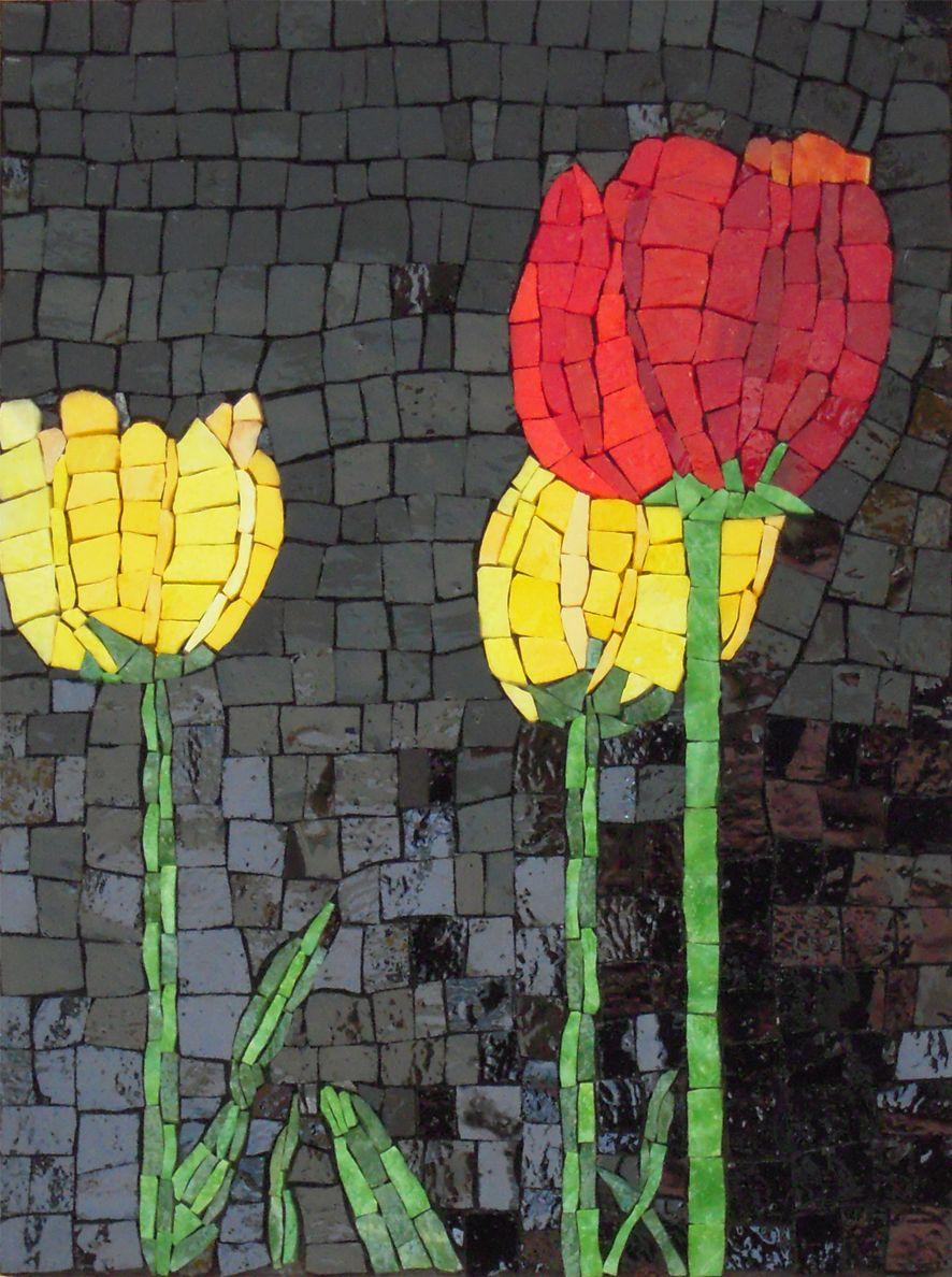 Tulips Like Black Background Mosaic Art Mosaic Art