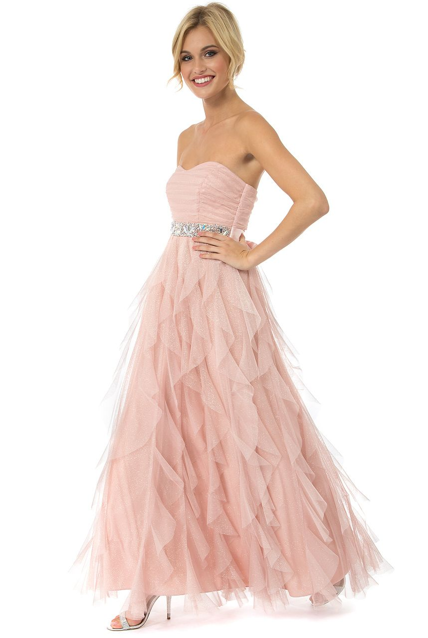 Teeze Me | Blush Strapless Glitter Jewel Waist Long Petal Prom Dress