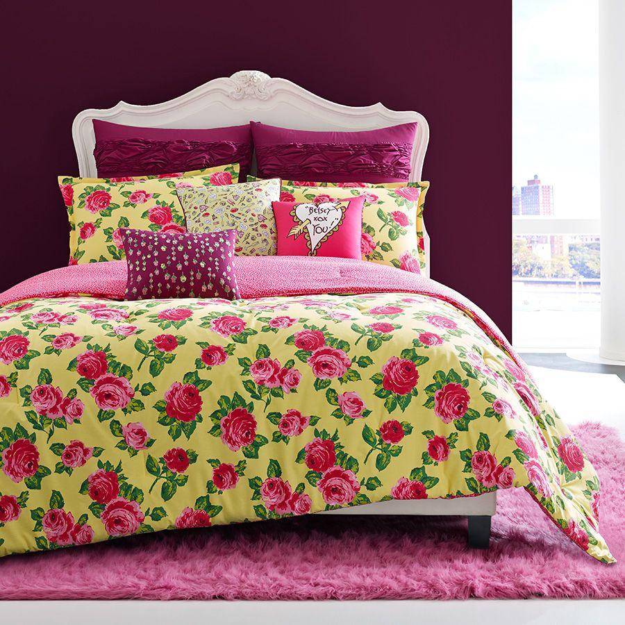 Floral bedding tumblr - Betsey Johnson Garden Variety Comforter Set Xobetseyjohnson Beddingstyle Yellow Floral