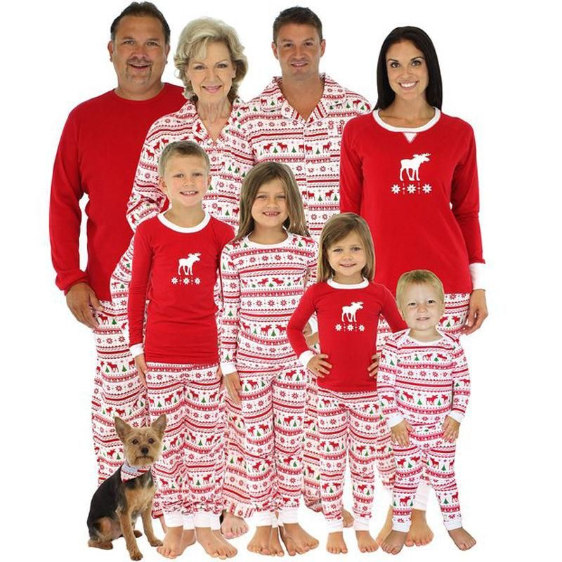 8 Style Winter Warm Family Matching Red Deer Tree Printing Christmas