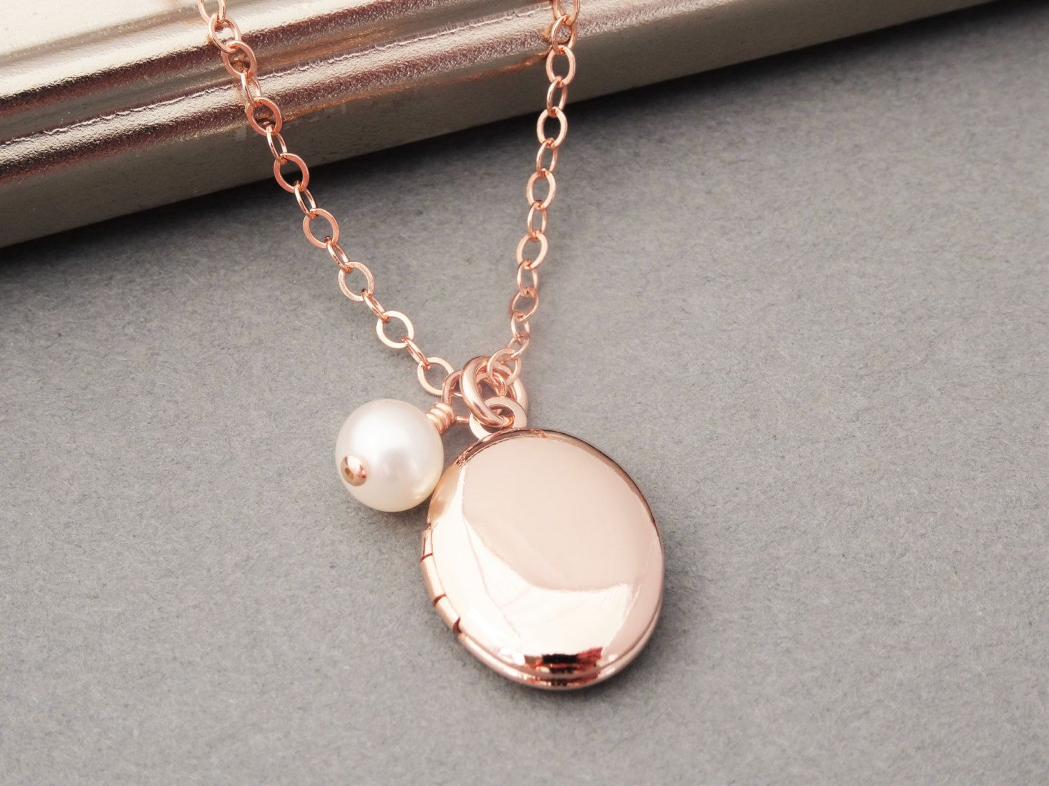Rose gold locket necklace u pearl rose gold necklace wedding