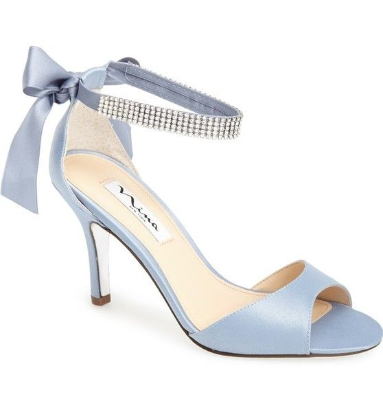 Dusty Blue With Crystals Strap Sandals Women Blue Bridal Shoes Womens Evening Shoes