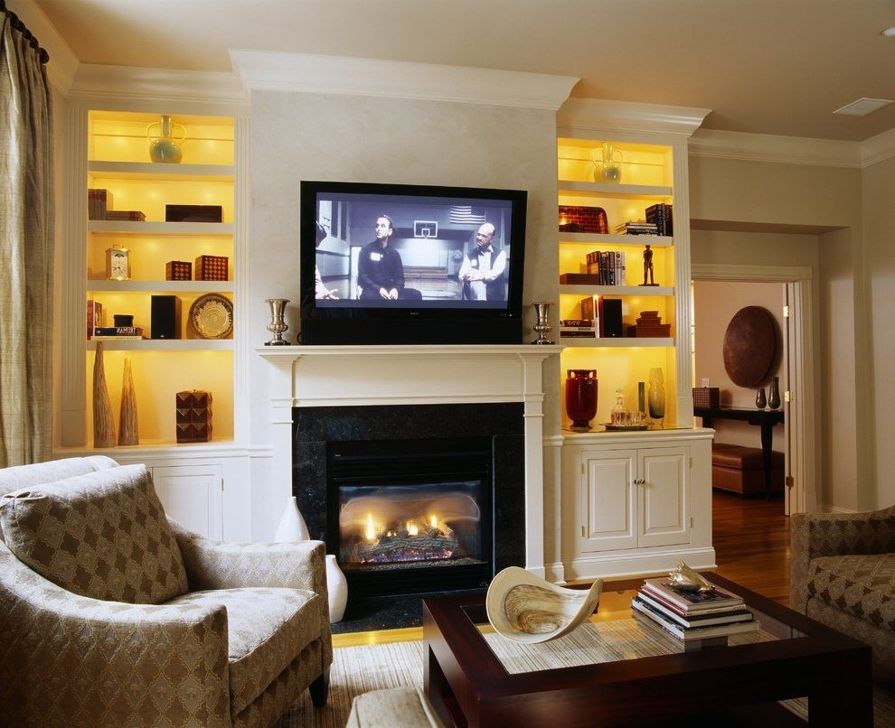 Bookcase Lighting Ideas Living Room Traditional With Glass Coffee Table Tv Above Fireplace Wood Trim Tv Above Fireplace Fireplace Built Ins Living Room Lighting