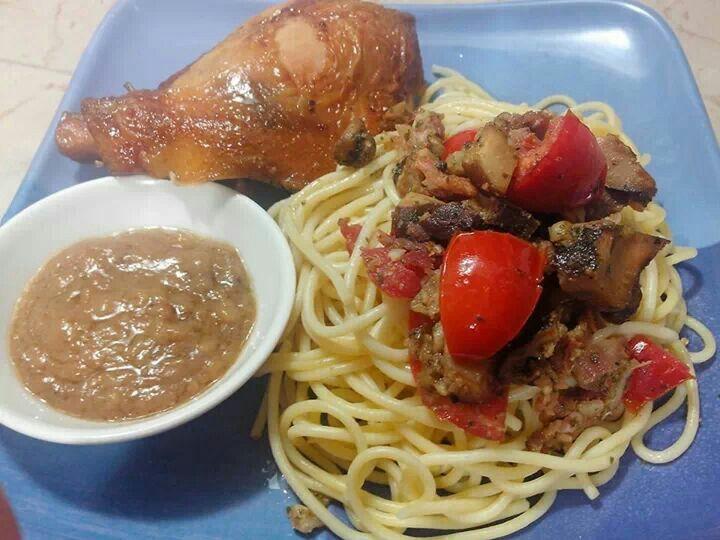Spag with shitake mushrooms and fresh tomatoes.