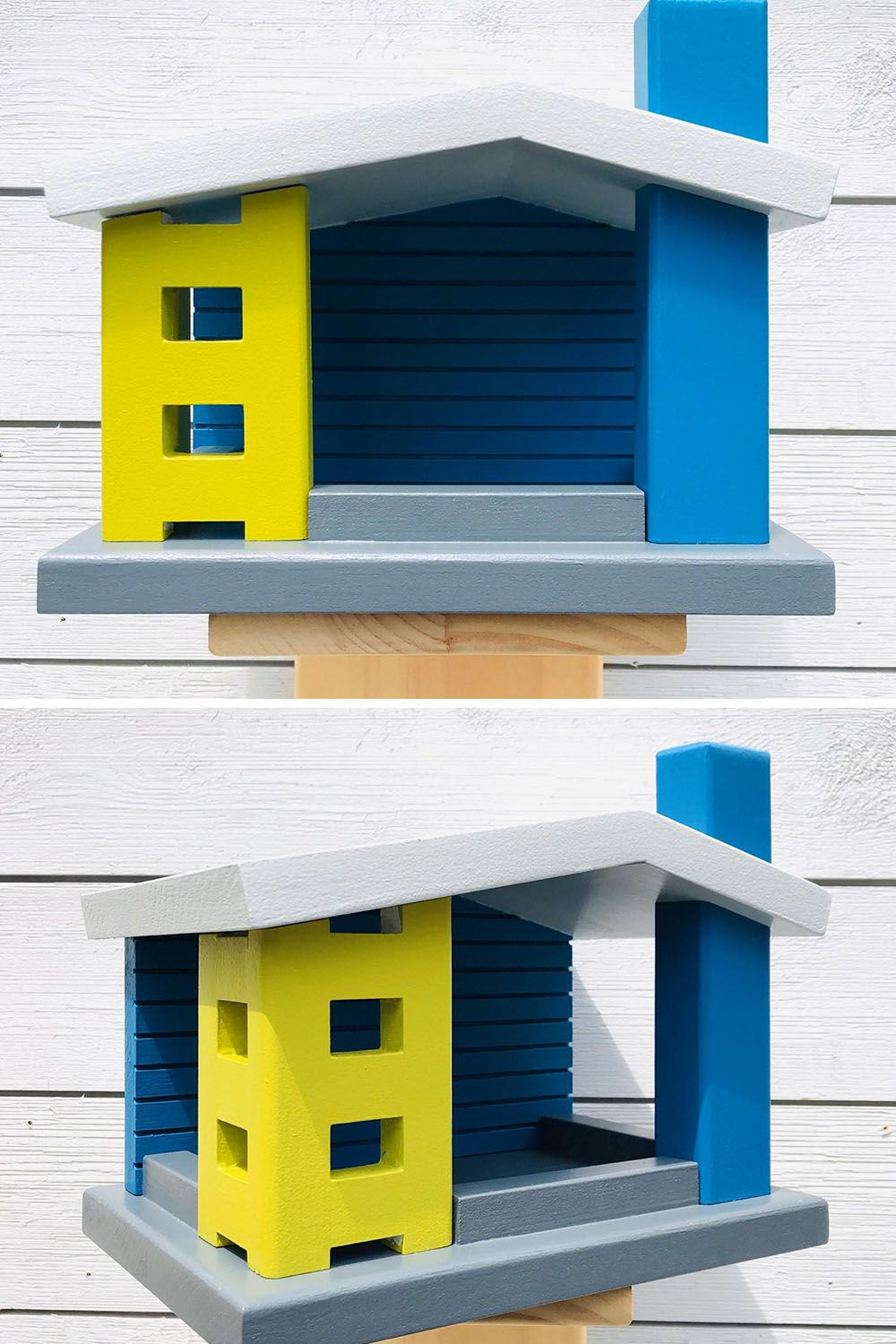 Mid-century modern painted bird feeder adds character to your backyard. Give your bird friends a home of their own crafted from pine and hand-painted in vibrant mid-century colors.