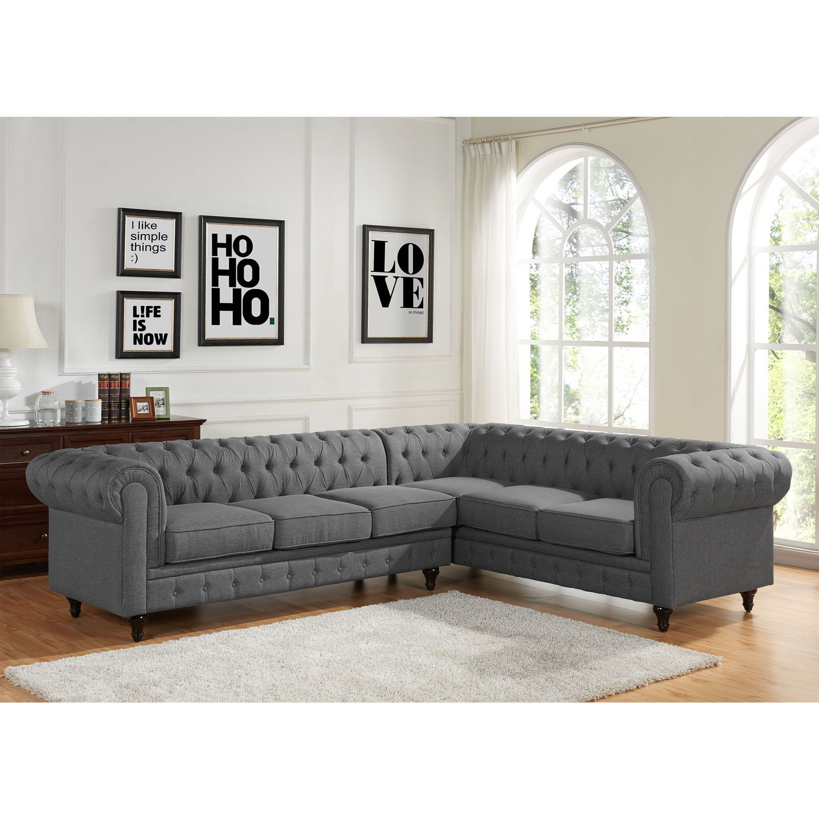 1493 99 Sophia Modern Style Tufted Rolled Arm Left Facing Chaise Sectional Sofa Sophia M Sectional Sofa Grey Sectional Sofa Sectional Sofa With Chaise