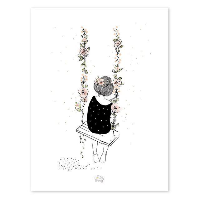 Affiche Romantique Balançoire Taille Taille Unique