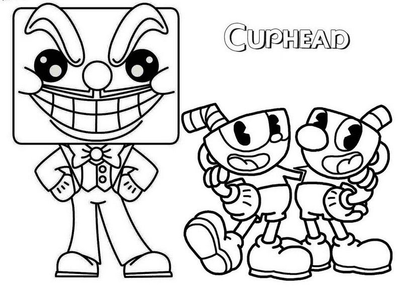 King Dice Cups And Mugman Coloring Page Dengan Gambar