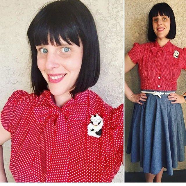 This Lucky gal haute honey: @erikajl  managed to get hers in our first sample run.   The Estelle Blouse in Red Polka Dot is coming back in about a month- so hang on!    #heartofhaute  #hautehoney  #estelleblouse #retrostyle  #vintagestyle  #vintageinspired  #disneybound  #redpolkadot  #bettiepage  #chambrayskirt  #pinupstyle  #pinupfashion  #vlv  #rockabillyfashion
