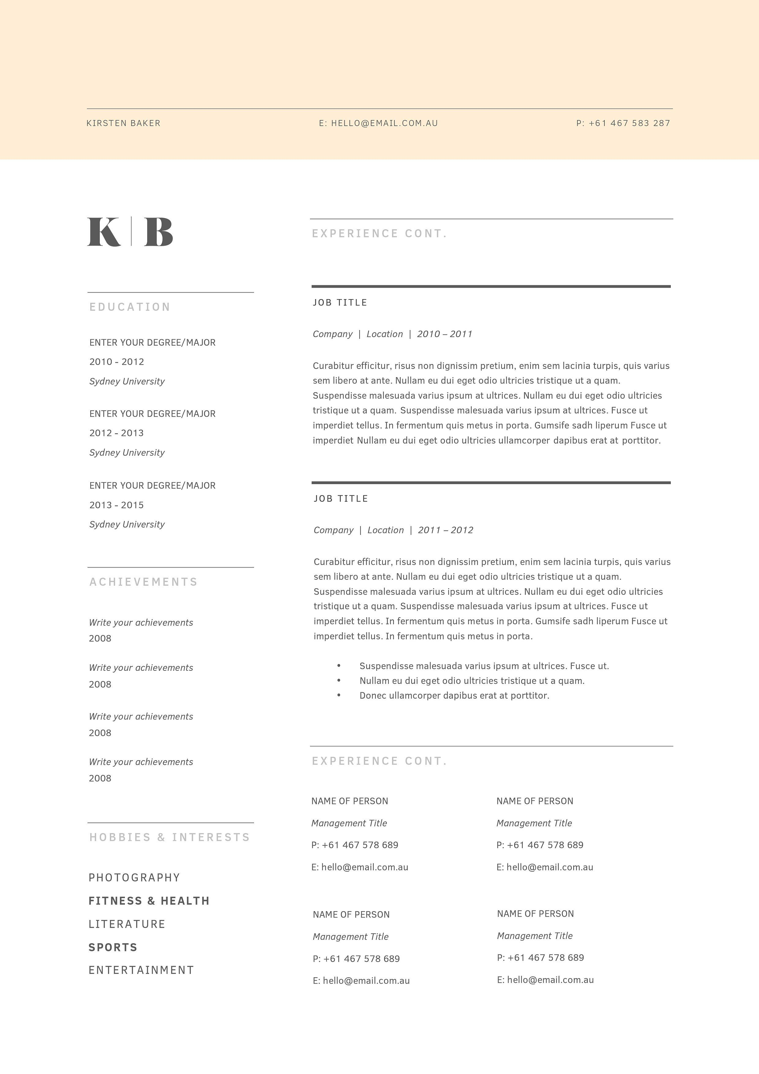 resume template 3 page cv template  document change add desire