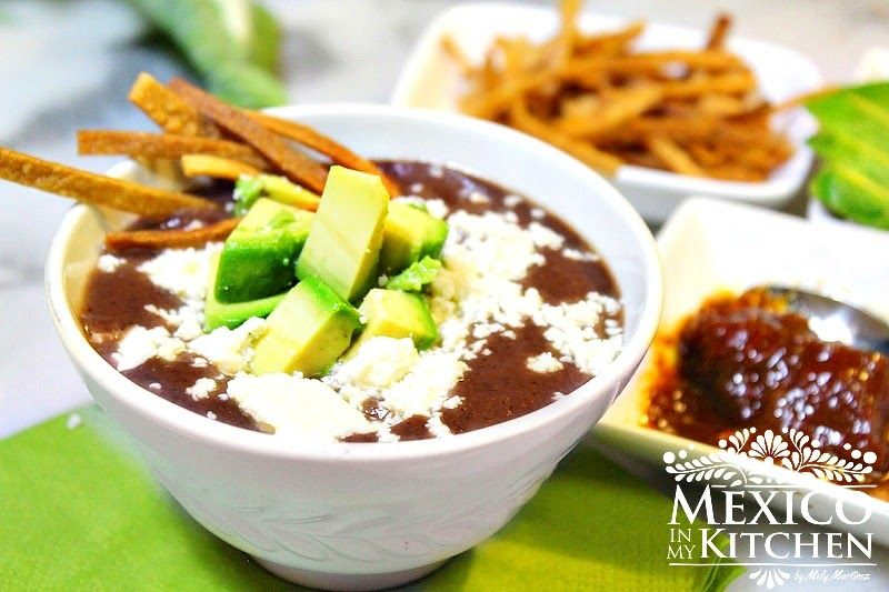 This creamy mexican black bean soup recipe can be done really quickly using cooking staples you already have in your fridge or pantry. Enjoy!
