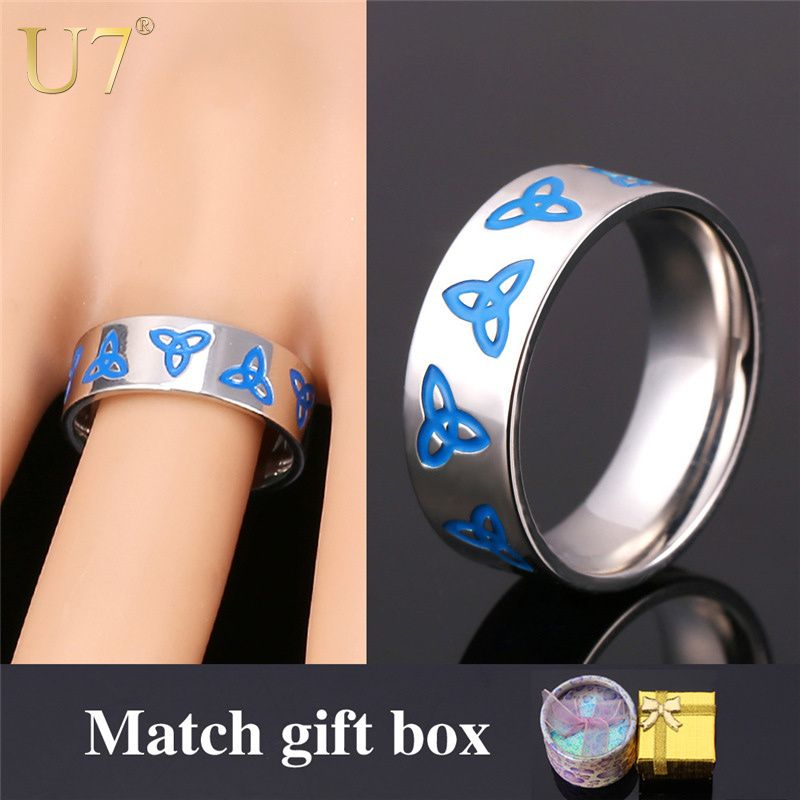 U7 Viking Jewelry Stainless Steel Bands Ring Men Women Jewelry With