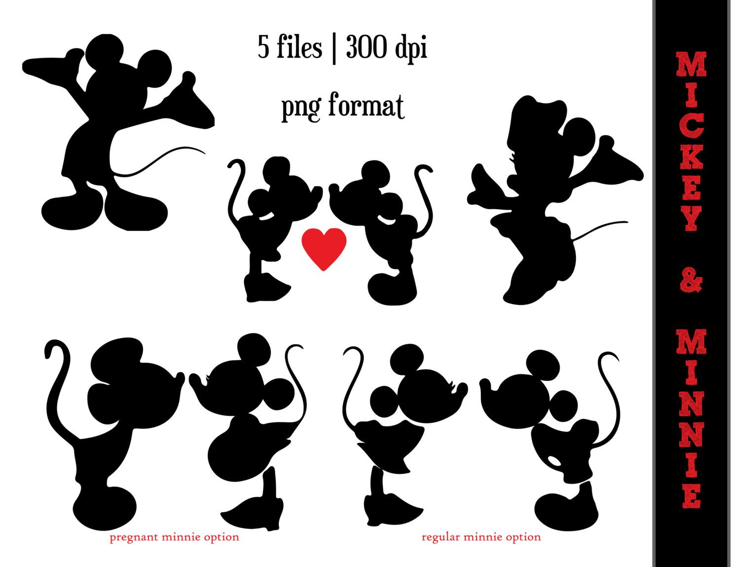 Mickey Mouse and Minnie Mouse Silhouettes // Minnie Mouse Silhouette // Disney  Clipart // Kissing // Love // Pregnant