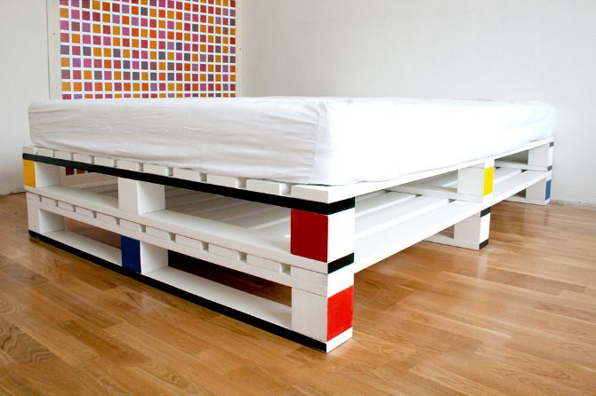 Mondrian-like Pallet Bed Palets, Madera y Moderno