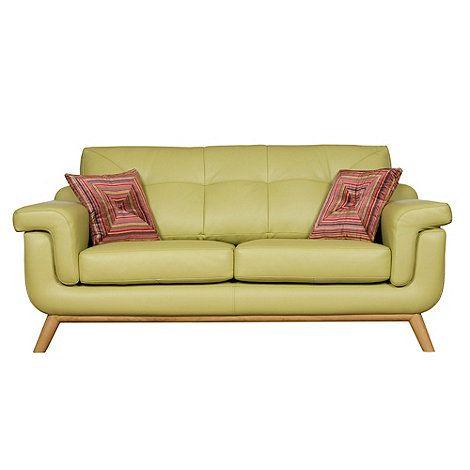 Debenhams Medium Pistachio Green Leather Kandinsky Sofa With Light Wood Feet At