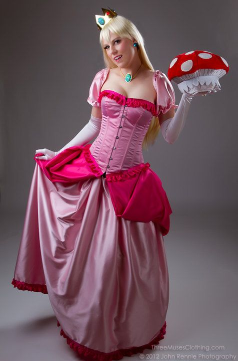 Photos of custom made Princess Peach costume made and modeled by Candy Keane owner of Three Muses Inspired Clothing costume boutique in Jacksonville FL  sc 1 st  Pinterest & princess peach dress aka my halloween costume for this year! | my ...