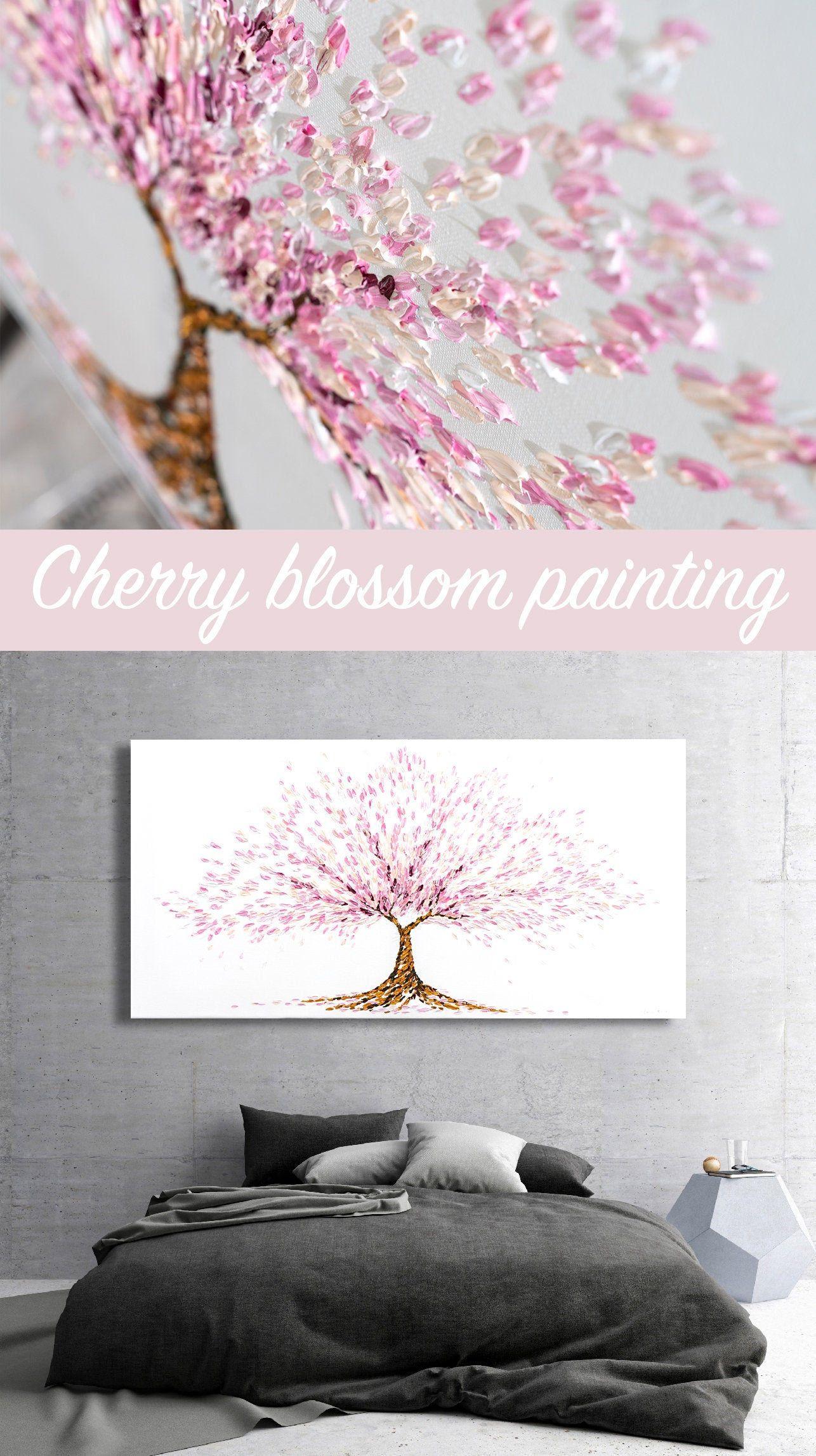 Cherry Blossom Tree Sakura Tree Japanese Cherry Blossom Tree Knife Painting Blossom Tree Pointillism Pa Japanese Cherry Blossom Sakura Tree Cherry Blossom Tree