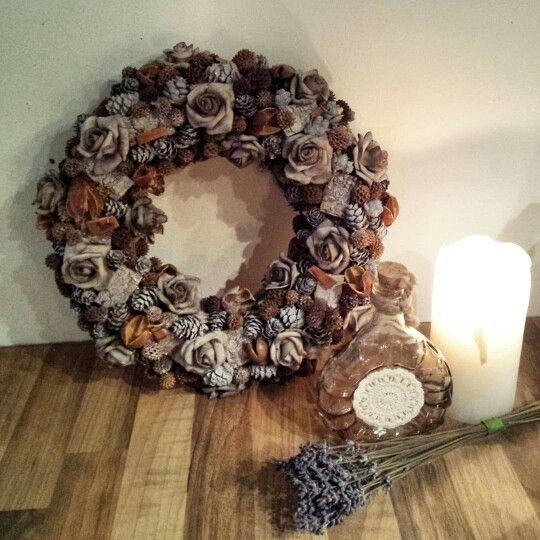 wreath with foam roses and  dry material