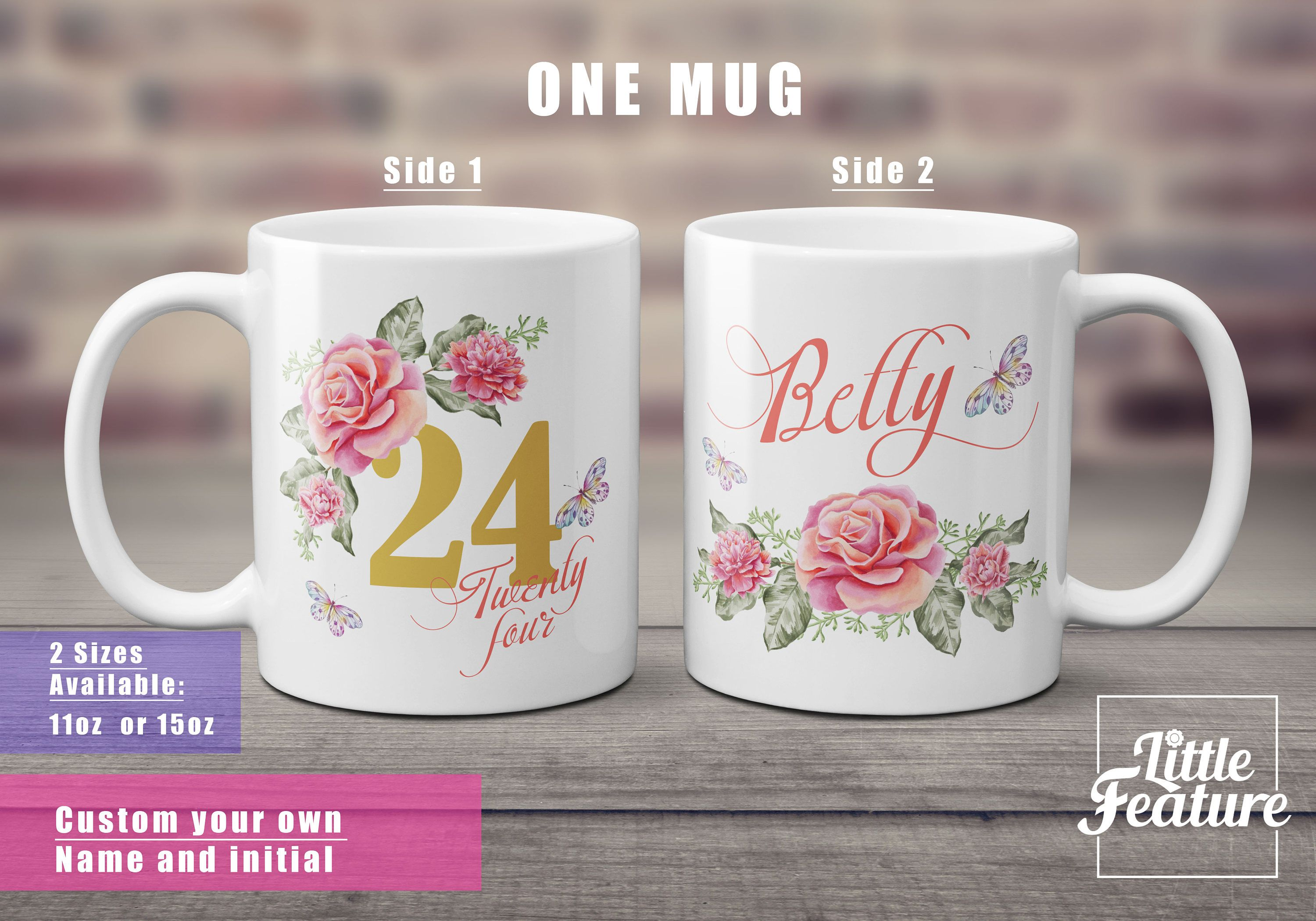 Personalised Mug For Sister 24 Birthday Gift Aunt 24th Idea Her Custom Name Coffee Girlfriend By LittleFeature
