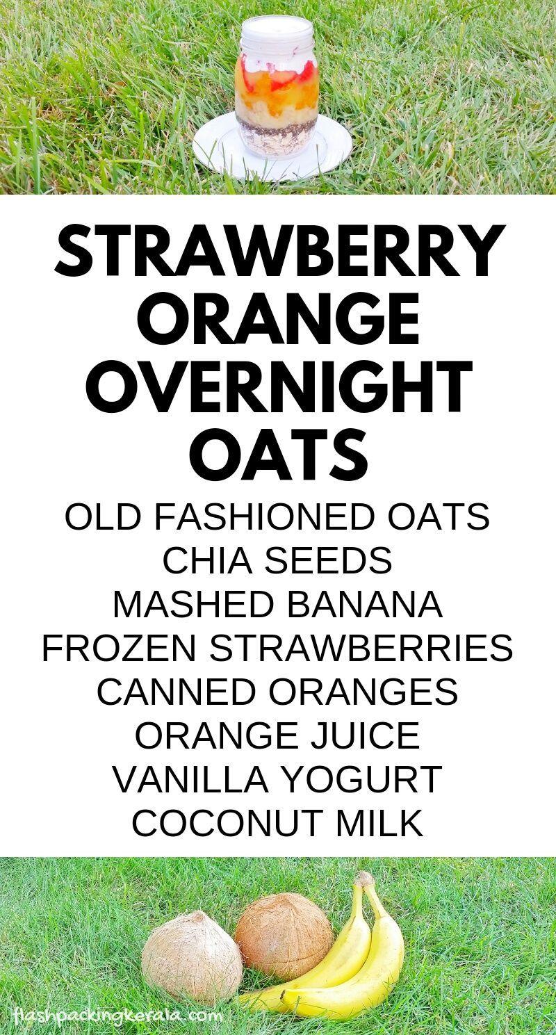 EASY healthy strawberry banana chia overnight oats with coconut milk :: Fruit breakfast ideas #vanillayogurt