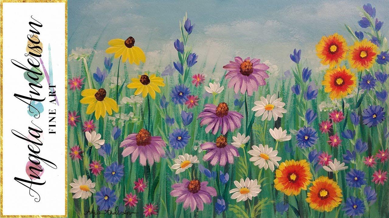 Wildflowers Acrylic Painting Tutorial Live Beginner Step By Step