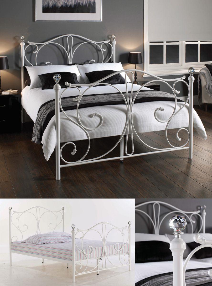 Florentine White Krystal King Size Bed Frame White Metal Bed White Metal Bed Frame White Bed Frame White metal full size bed