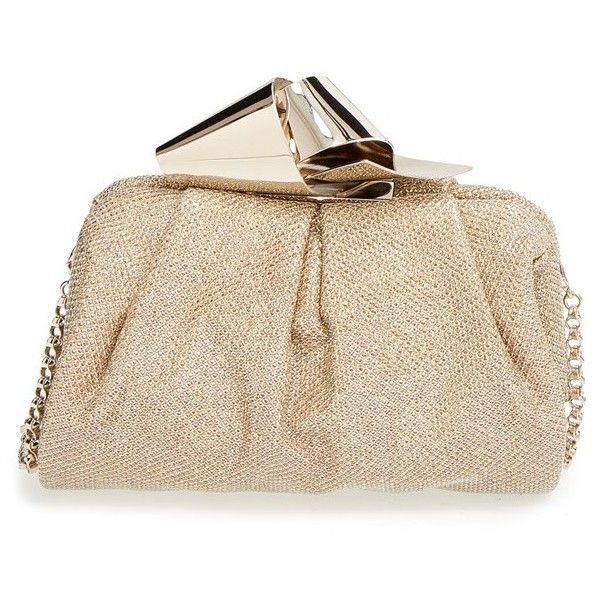 Jimmy Choo 'Cara' Glitter Lame Clutch ($1,595) ❤ liked on Polyvore featuring bags, handbags, clutches, gold, glitter clutches, chain strap handbag, jimmy choo purses, jimmy choo clutches and chain handle handbags