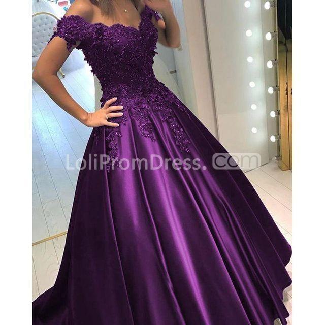 Grape Long Prom Dresses 2018 Ball Gown V-Neck   Prom   Pinterest ...