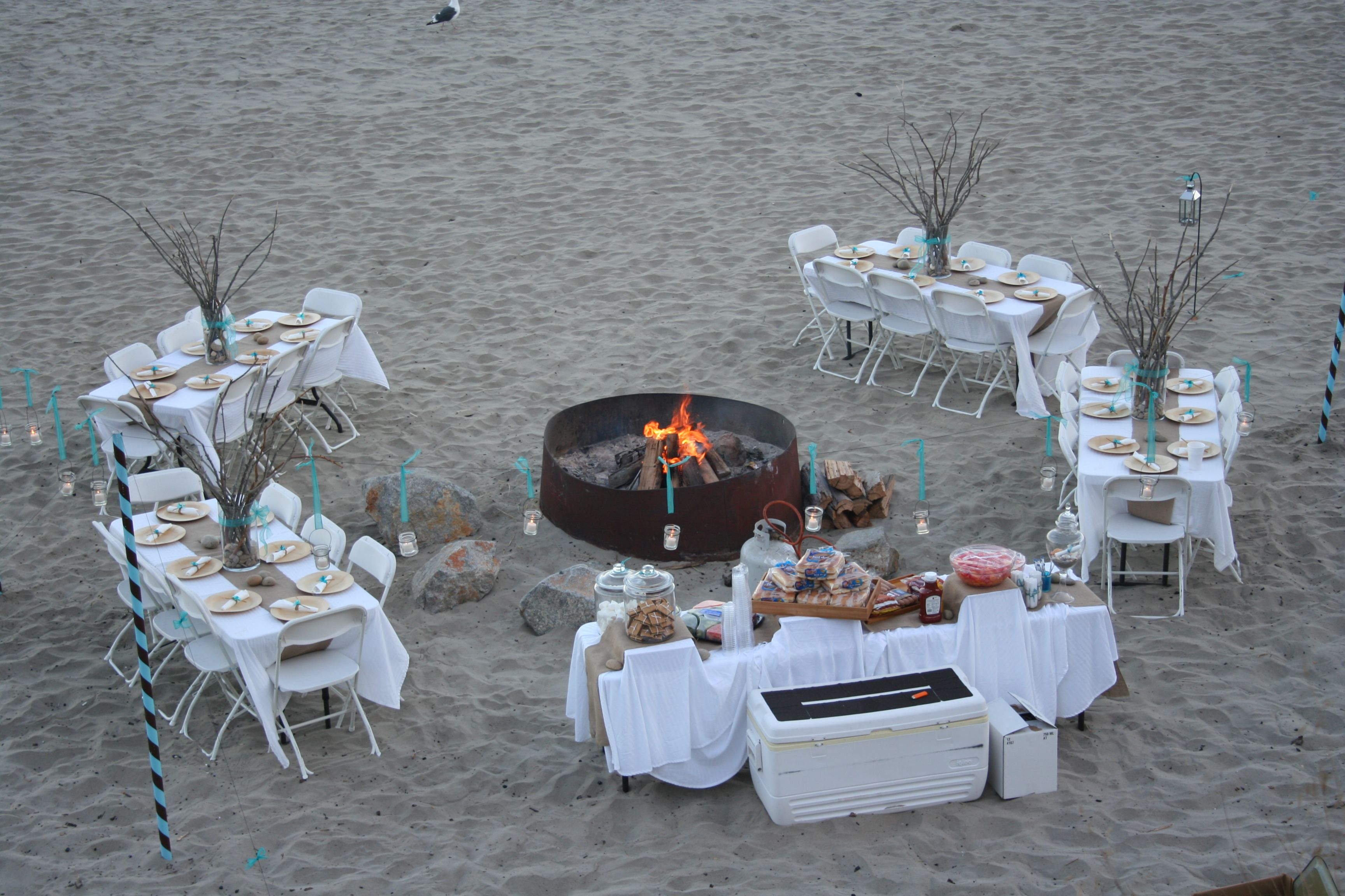 Menu And Reception Set Up At Sibonne In The Turks And: Rehearsal Dinner On The Beach -BBQ -beach Chairs, Blankets