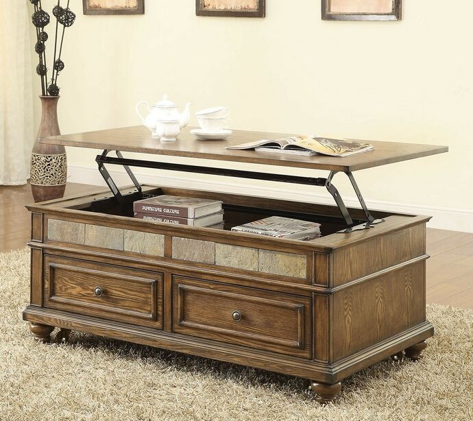 Eli collection oak finish wood and slate insert lift top coffee