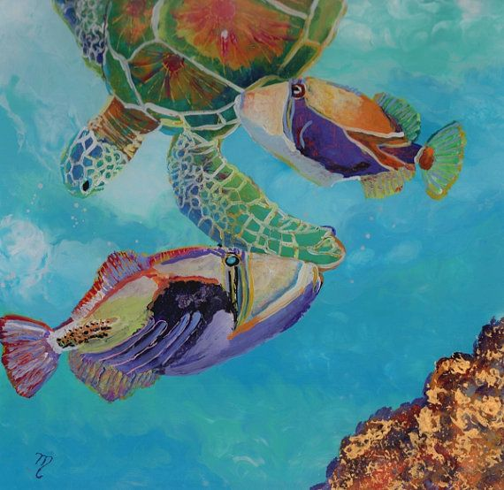 Swimming with a Turtle and Two Humus  Original Sea by kauaiartist, $200.00