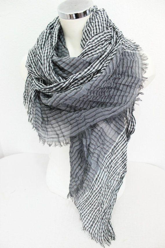 a1410765aac Men scarf, Striped men scarf, Plaid men scarf, Grey and Black scarf ...