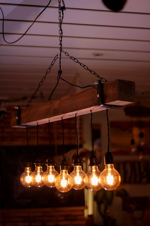 cbd7cb176ce48 Reclaimed Farmhouse Lighting Fixture, Chandelier, Live Edge Wood ...
