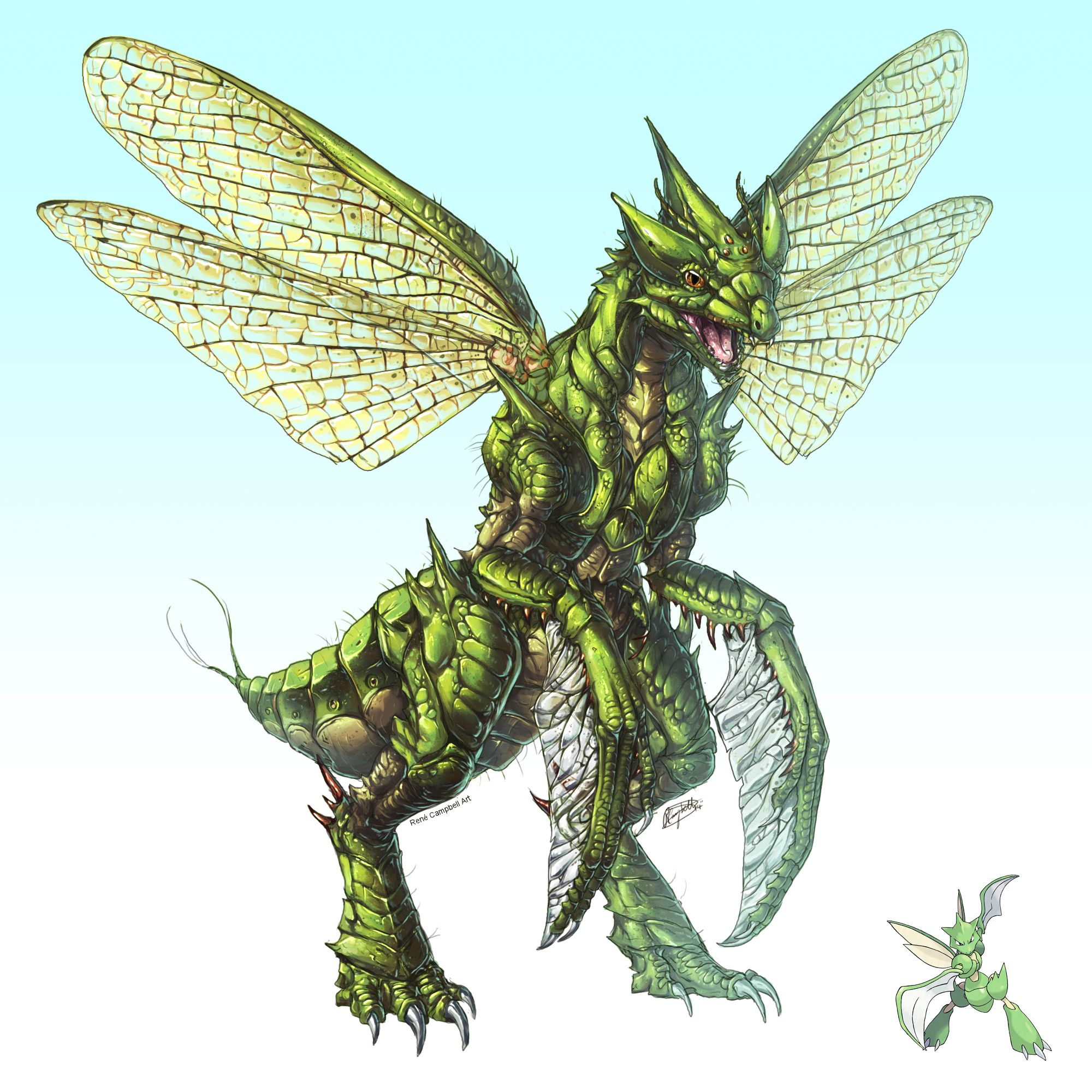 Realistic Pokemon Scyther By ReneCampbellArtdeviantartcom On - This artist transformed pokmon characters into nightmare fuel