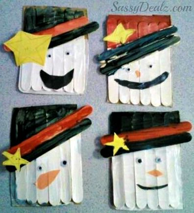 DIY Popsicle Stick Snowman Craft For Kids #Winter craft