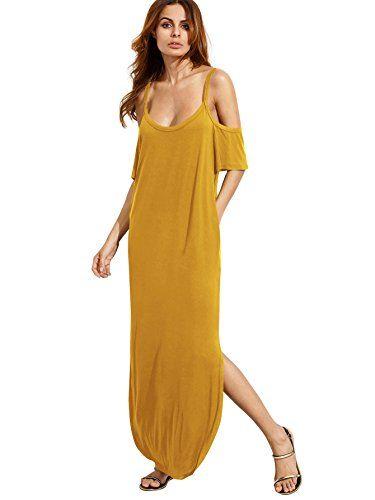 5fc5fec438 MakeMeChic Women's Cold Shoulder Pocket Short Sleeve Casual Side Split Long  Maxi Dress Yellow L at Amazon Women's Clothing store: