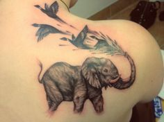 Grey Ink Elephant Tattoo On Right Back Shoulder #Tattoosonback