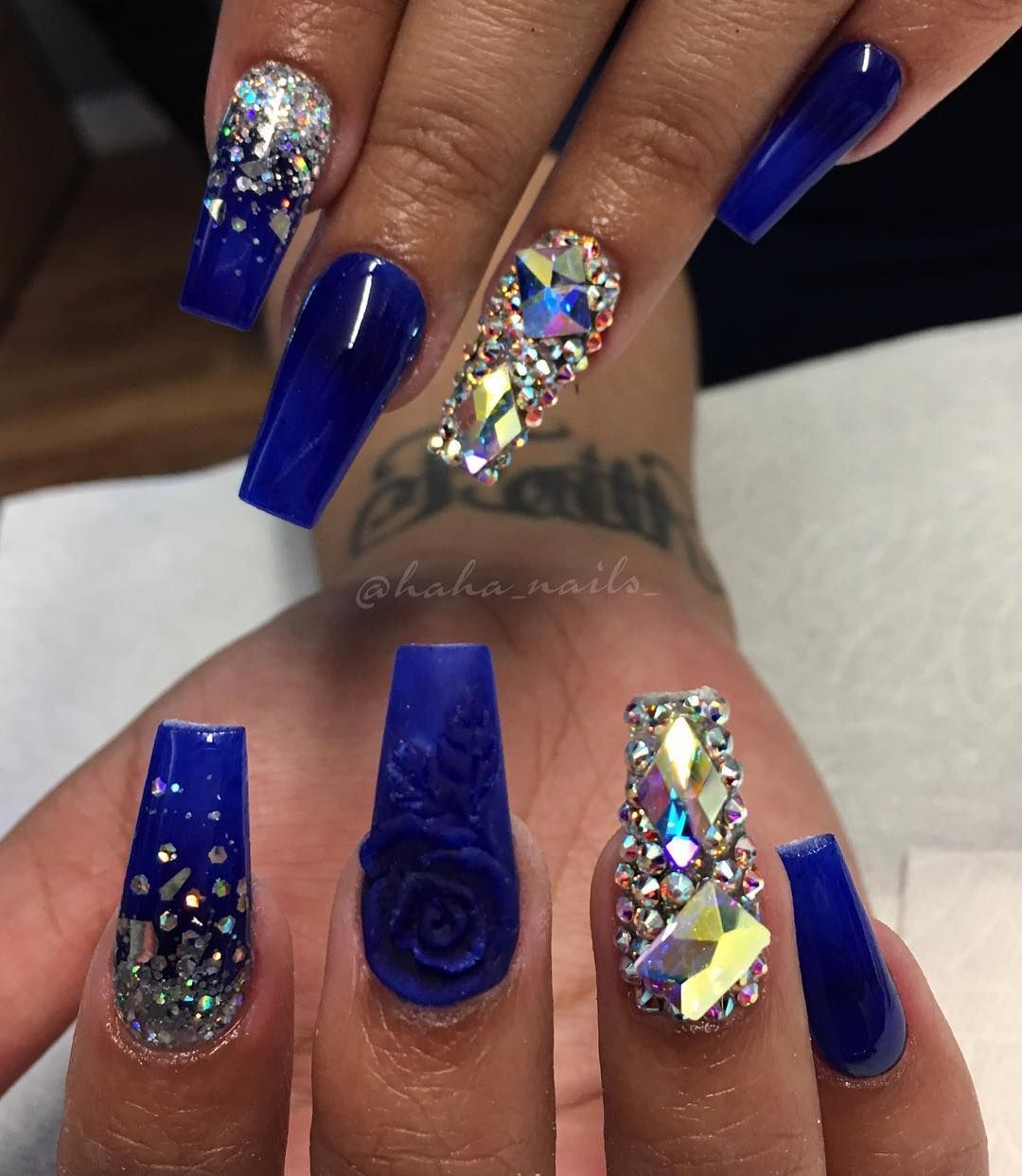 Royal Blue Rose And Mirror Glitter Nails 10 Impressive Coffin