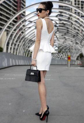Topshop White Peplum Dress On Wendy Blogger Black White