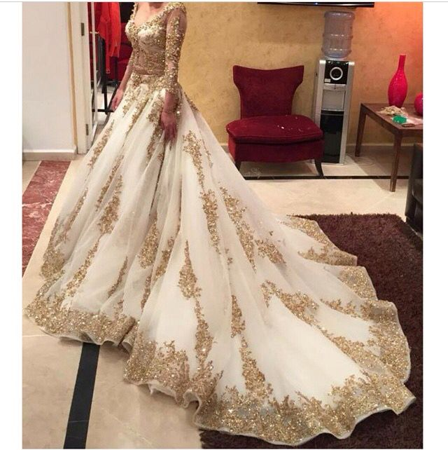 Gorgeous White And Gold Wedding Lehenga Gold Lace Wedding Dress Gowns Two Piece Wedding Dress