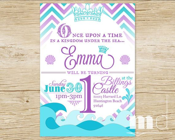 Custom Little Mermaid Princess Birthday Party Invitation Chevron