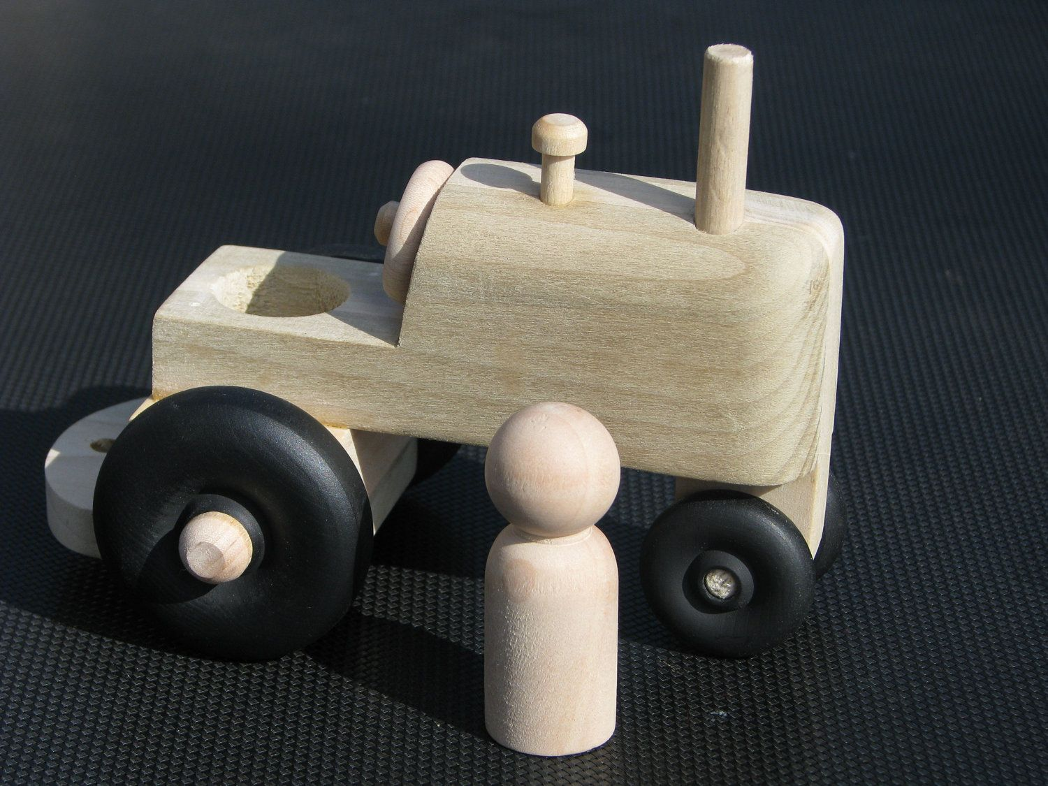 wooden waldorf inspired toy tractor with peg doll | littles