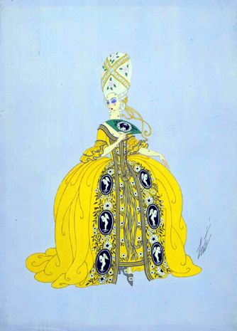 Costume design for Ganna Walska as the Countess in The Marriage of Figaro, Act II, Chicago Opera Company, 1923, Gouache by Erte