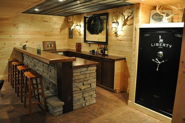 Delightful Basement Bar Decorating Ideas   Rustic Finished Basement Ideas