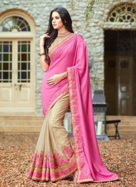 Pink & Beige floral border Indian half saree with blouse