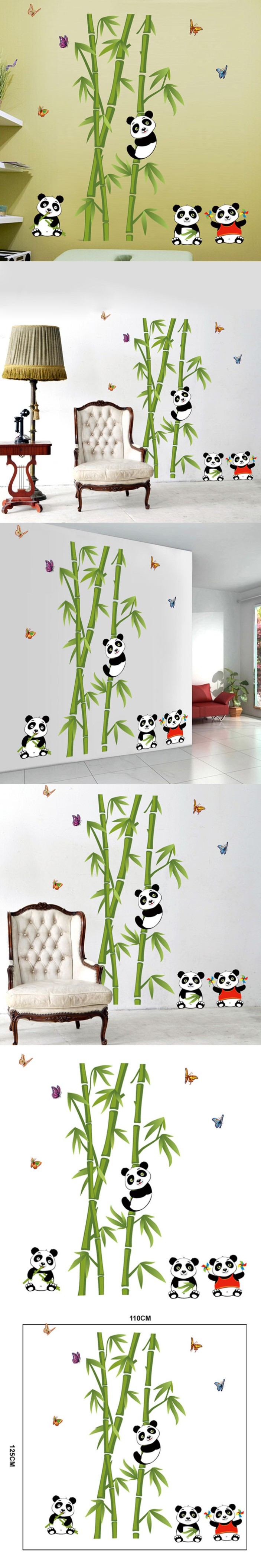 SPLENDID Home Decor Mural Vinyl Wall Sticker Removable Cute Panda Eating Bamboo Room Wallpaper Decorative Art Decals