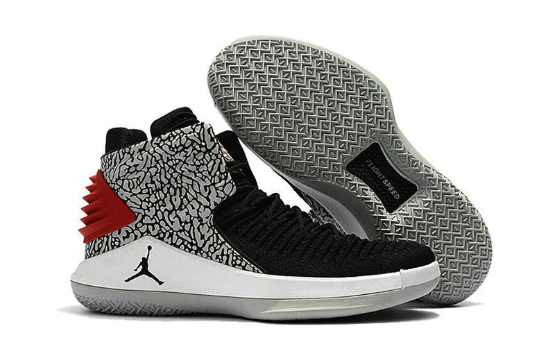 2018 March Sale Cheap 2018 Air Jordan 32 (XXXII) Black Elephant Print  Cement White