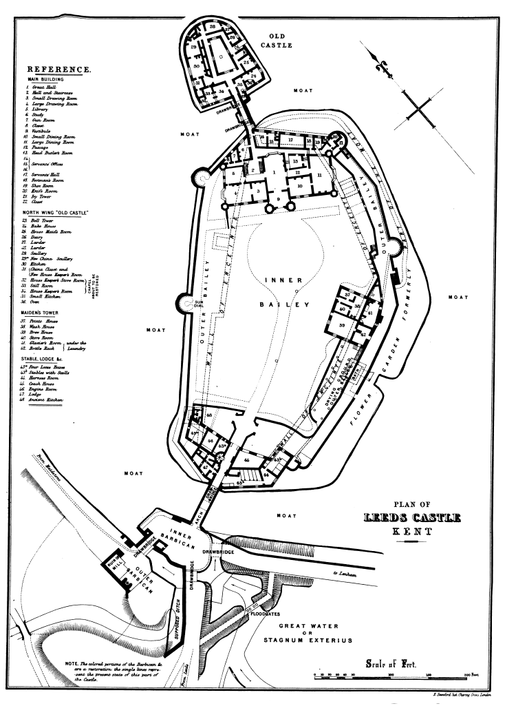 Leeds Castle, plan by E. Stanford, 'The History and