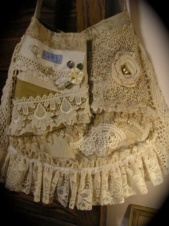 Shabby Vintage Purse Handmade Victorian Bag Crocheted